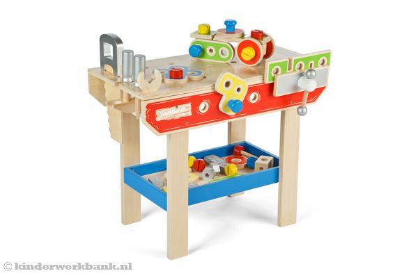 Woodtoys Houten gekleurde werkbank   Kinderwerkbank nl